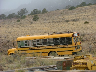 Converted school bus that was used for ambassador wolf programs. Currently used as fire evacuation vehicle