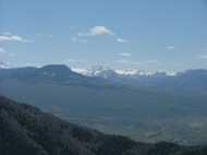 From the Canyon Rim at Hermit's Rest Trail-head, the San Juan Mountains are clearly seen in the distance