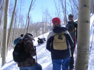 A group of intrepid snowshoers