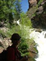 Spring in the Rockies. Katherine along the trail