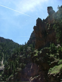 From the bottom of Black Canyon of the Gunnison, looking up along the nearly shear cliff walls