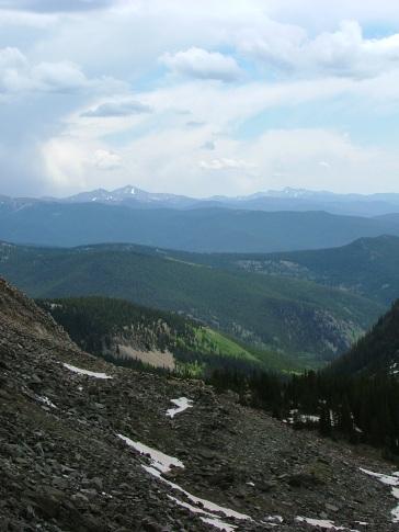 From Gunsight Pass looking south towards Antora Peak