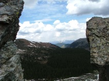 Looking through aptly named Gunsight Pass to the north