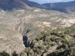 The lower portion of Red Canyon forms sheer walls similar to the Black Canyon of the Gunnison