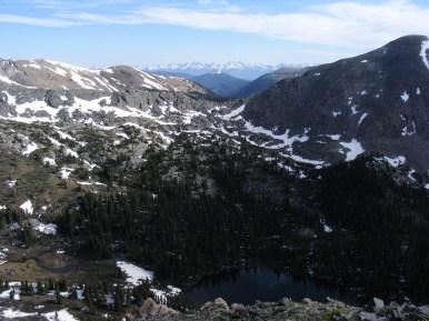 Above Mill Lake, looking through Gunsight Pass is the Sawatch Range