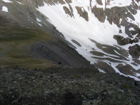 Snowy precipice leading to Lamphier Creek