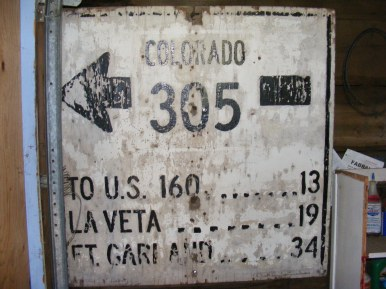 Old sign from Colorado State Highway 305