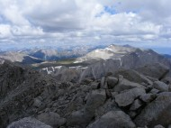 The Collegiate Peaks as seen from Mount Shavano