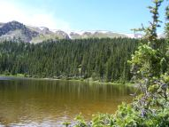 The high ridge forming the Continental Divide soars above one of the Waterdog Lakes