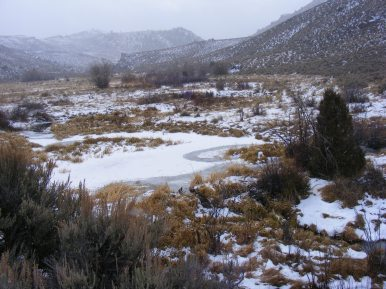 The rough country along Willow Creek; there was snow in the air as can be seen by the ridge obscured by a flurry