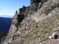The heterogeneous composition of the West Elk breccia is evident on these cliffs