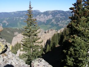 Looking west from Bonfisk Peak, Big Soap Park is the large splotch of bright green meadow