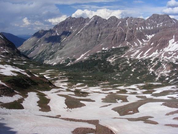 Len Shoemaker Ridge as seen from West Maroon Pass