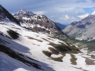The headwaters of West Maroon Creek, from the pass