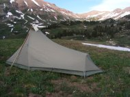 My tent with West Maroon Pass in the background