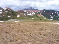 In a meadow recently devoid of snow, between Frigid Air and Hasley Passes, Maroon Peak towers above all