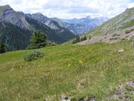 On the North Fork of Bear Creek, looking back towards and across the Uncompahgre Gorge