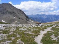 Near American Flats, this view of the jumbled mass that is the San Juan Mountains; looking west