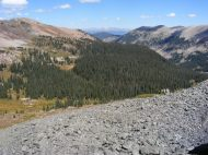 Looking down Brush Creek; the Sawatch Range is visible in the distant background