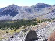 Lamphier Lake and Fossil Mountain to the right