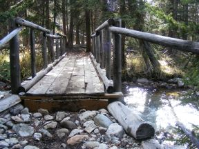 The bridge that carries the Highline Trail over Roaring Fork