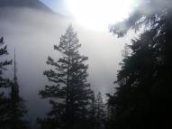 Misty fog hanging over Lower Green River Lake