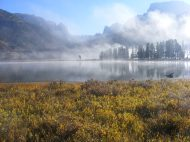 The fog has lifted and revealed the inlet of Lower Green River Lake