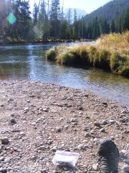 My resting spot along the Green River near the Forest Service bridge between the Upper and Lower Green River Lakes