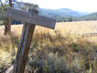 Trail marker on the boundary of Yellowstone National Park and Gallatin National Forest