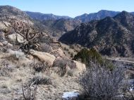 Looking east from Texas Creek Gulch, Bighorn Sheep Canyon drains the Arkansas River out towards the Great Plains