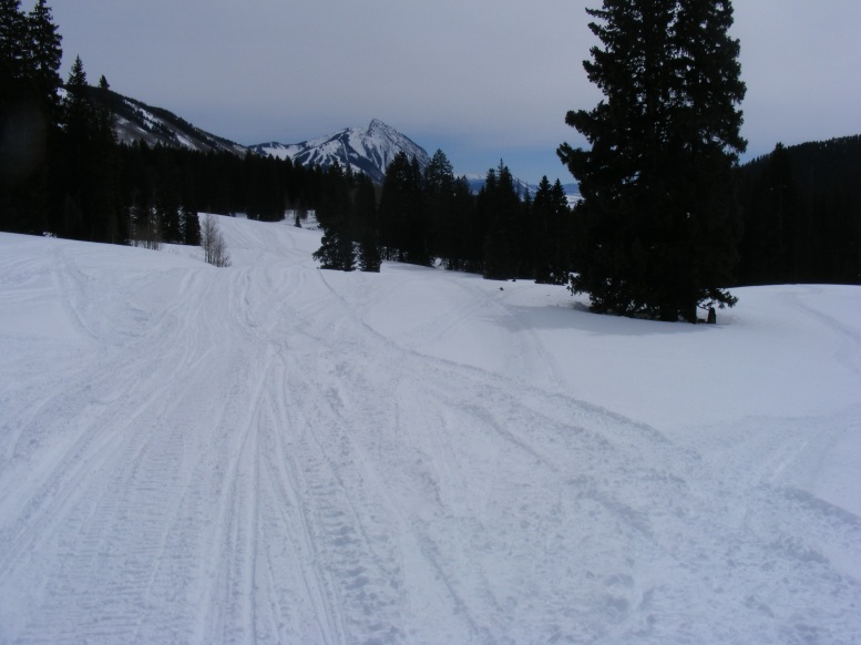 Crested Butte in the distance, ski runs visible, viewed from Washington Gulch