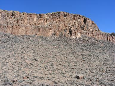Basalt that forms the mesas that cap the southern foothills of the West Elk Mountains