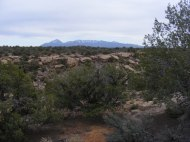 Near the Hovenweep National Monument campground, to the east is a view of Sleeping Ute Mountain in Colorado