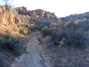 The trail between Square Tower and Holly Units, in Keeley Canyon