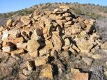 Rubble from ruin in Keeley Canyon