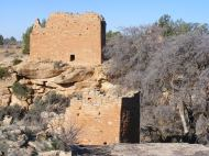 Holly Tower in front of Holly House, Hovenweep National Monument