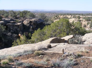 Looking down Hackberry Canyon towards the lower drainages that terminate at the San Juan River
