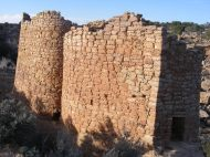 Twin Towers aglow in the evening's sun, Hovenweep National Monument
