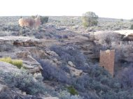 At the head of Little Ruin Canyon, Hovenweep House and Square Tower, below