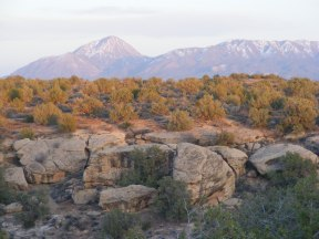Sun sets on Sleeping Ute Mountain, seen from the campground at Hovenweep National Monument