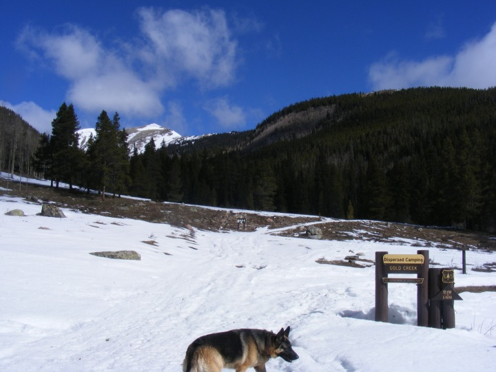 Leah, Gold Creek Campground, Lamphier Creek and Broncho Mountain on a blustery Spring day