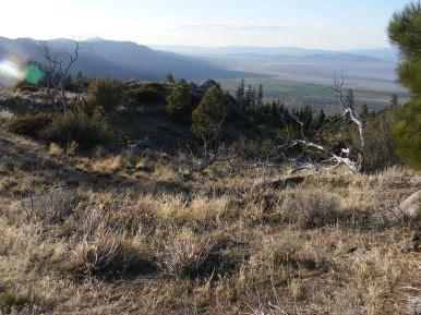 Near Milford, above the Laufman Campground, the eastern side of the Sierra Mountains drains into the Great Basin; notice the old lake shore