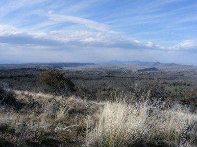 Great view despite the windy day on Whitney Butte, Lava Beds National Monument, looking north towards Gillem Bluff