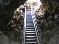 Access stairs into Merrill Cave, Lava Beds National Monument