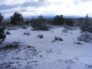 Looking east at Indian Well Campground in Lava Beds National Monument, just after dawn