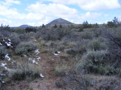 Buttes on the horizon, helping me to keep oriented in Lava Beds National Monument