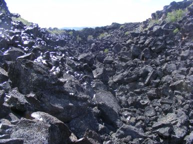 This depression in the Earth's surface was created by the collapsing of the roof of basalt of a lava tube