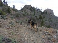 Leah navigating the rocky terrain leading to the pass from West Elk Creek to Dillon Pinnacles