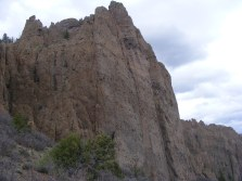 Shear wall of West Elk breccia that makes up Dillon Pinnacles; notice the matrix studded with dark rock fragments