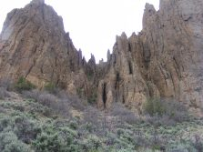 Odd spires and fins that form in Dillon Pinnacles and wherever West Elk breccia is exposed to erosion